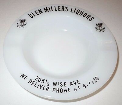 Glen Miller's Liquors Ashtray Dundalk MD Maryland Vintage Antique Wise Ave White