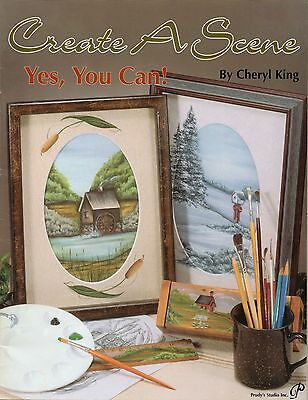 Tole Decorative Painting CREATE A SCENE Cheryl King Sleigh Winter Country Book
