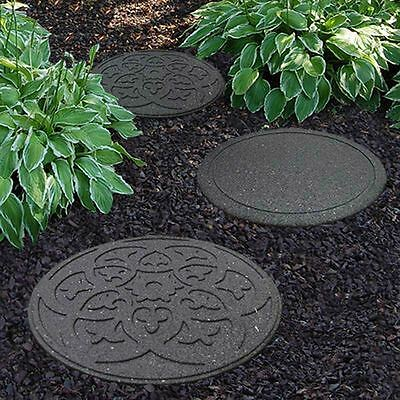 Garden Path Stepping Stone Recycled Rubber Heavyweight Patio Yard Decor Set of 2