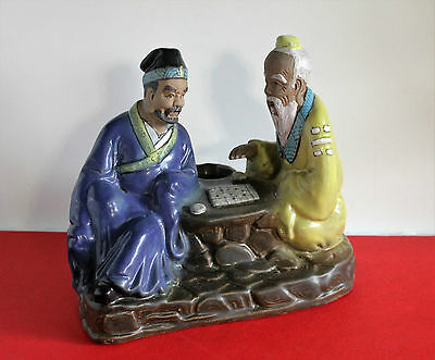 "Chinese Mudman Antique Pottery Two elderly men ""Boardgame Match"" Good Cond..C437"