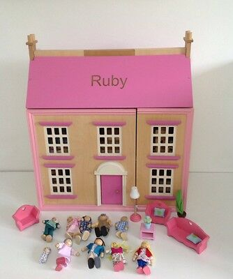 "Children's 21"" Wooden Dolls House  With Furniture & 10 Figures 💖"