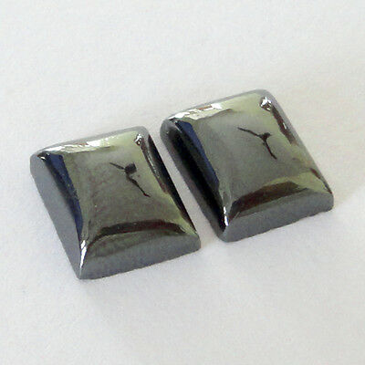 Gemstone Hematite Cabochon Rectangle 12x10x5mm 20Cts 2 Piece Lot # 11178