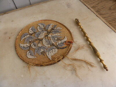 Antique beaded handheld fan and handle restoration job