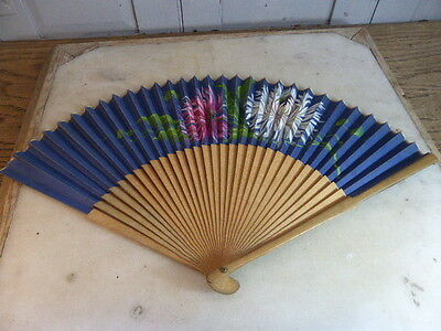 Antique wooden handheld ladies fan