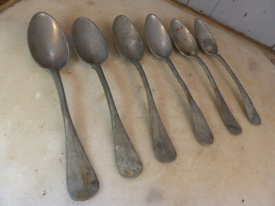 Antique set 6 French pewter dessert spoons