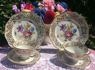 Schumann Dresden Floral Chateau Cups, Saucers & Salad Plates Reticulated Set #1