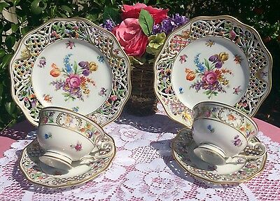Schumann Dresden Floral Chateau Cups, Saucers & Salad Plates Reticulated Set #2