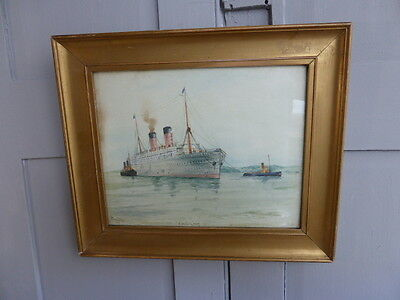 Antique framed watercolour painting of Castle-Liner by A Bevington 1910