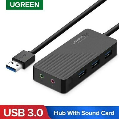 UGREEN 3 Port USB 3.0 Hub With USB Sound Card Adapter For Macbook PC Laptop Mac