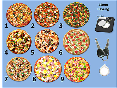 Choose a Pizza Keyring (44mm)- Mirror on one side, Pizza Picture on the Other.