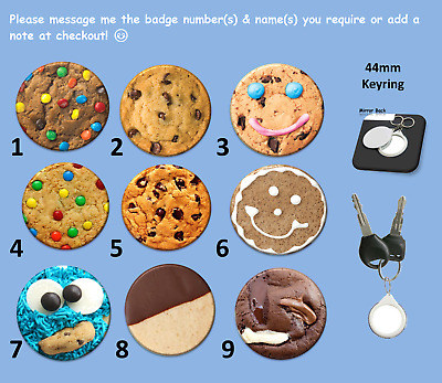 Choose a Cookie Keyring (44mm) - Mirror on One Side & a Cookie Picture on Other