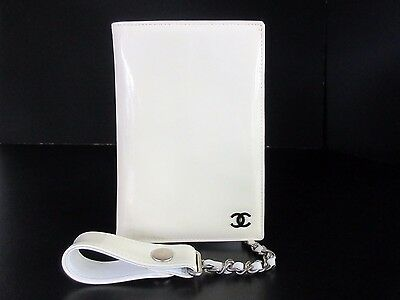 Authentic CHANEL Chain Card Case Enamel Leather Beige Box Good 35043 B