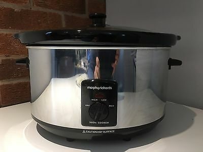 Morphy Richards Stainless Steel Large Slow Cooker 6.5L 48715A - TESTED & BOXED