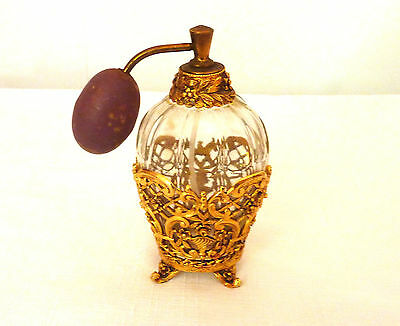Vintage Gold Plated Metal, Filigree Perfume Bottle with Atomizer