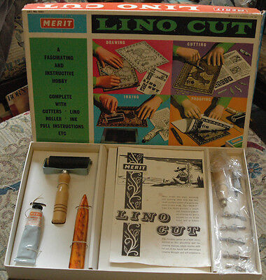 Vintage Lino Cut Kit! 1961! Merit! J & L Randall! Charity!