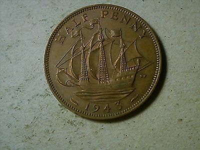Great Britain 1/2 penny half penny 1943  George VI. WWII period coin.
