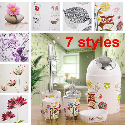 6Pcs Bathroom Accessory Tumbler Toothbrush Holder Set Bin Soap Dish Dispenser