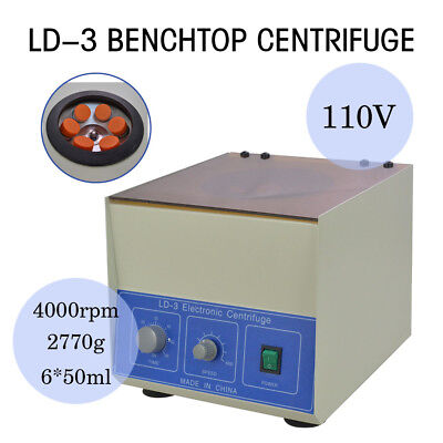 SUPER New LD-3 Electric Benchtop Centrifuge Lab Medical Practice 4000rpm 6*50ml