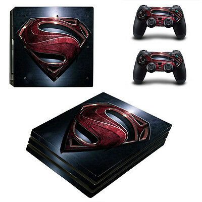 Playstation 4 PS4 Pro Console Skin Sticker New Superman + 2 Controllers