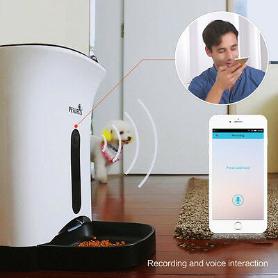 Automatic Pet Feeder Food Dispenser For Cat Dog iOS Android App Wifi Came Timer