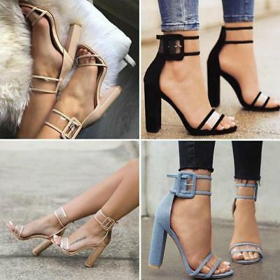Fashion Womens Ankle Strappy Block High Heels Transparent Clear Sandals Shoes FW
