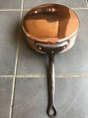 Vintage French Copper Tin Lined Frying Sauté Pan 1.2kg