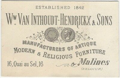 1880s Belgian Furniture Manufacturer Trade Card - Belgium Cabinetwork