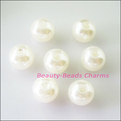 60 New Charms Plastic Acrylic Smooth Round Ball Spacer Beads White 8mm