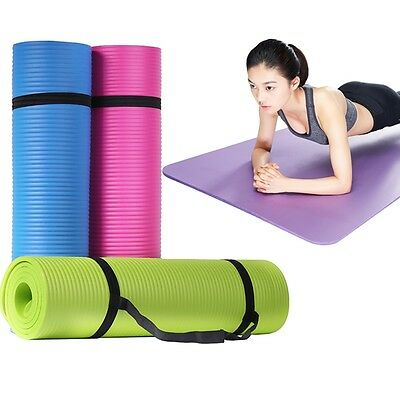 Yoga Pilates Mat Fitness Non-slip Odor Free Exercise Thick Pad Eco-friendly 10mm