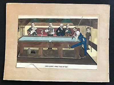 """Vintage Billiards Colour Print, Caricatures, """"Hard Lines! - Only Two of 'em!"""""""
