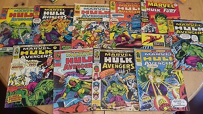 The Mighty World Of Marvel 1976 Hulk and the Avengers x 10 magazenes