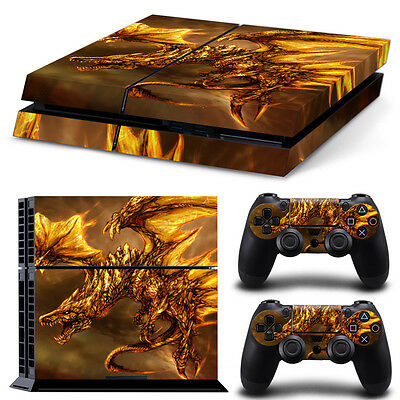 Sony PS4 Playstation 4 Console Skin Sticker New Gold Dragon + 2 Controllers