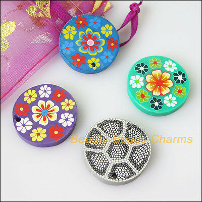 6 New Charms Handmade Polymer Fimo Clay Round Flat Pendants Mixed 25mm