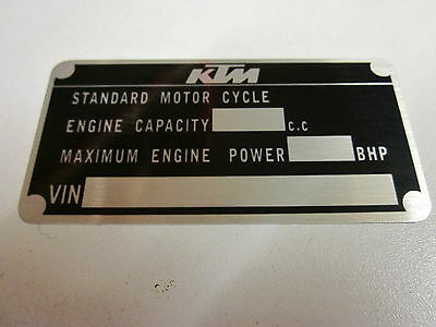 KTM motorcycle data plate quality vin-tage new ktm 125 200 250 300 350 390
