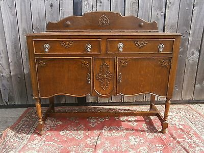 Vintage antique edwardian victorian arts and crafts oak sideboard