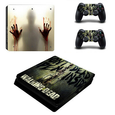Sony PS4 Playstation 4 Slim Console Skin Sticker New Walking Dead +2 Controllers