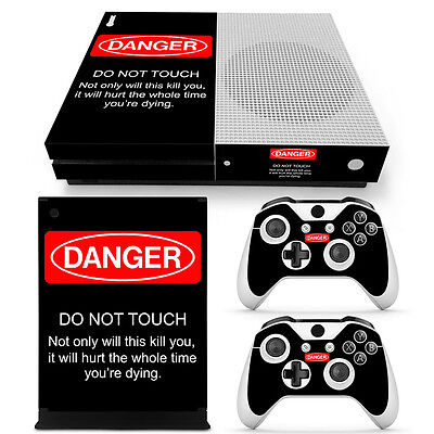 XBox One S Console Skin Sticker Protector New DANGER + 2 Controllers