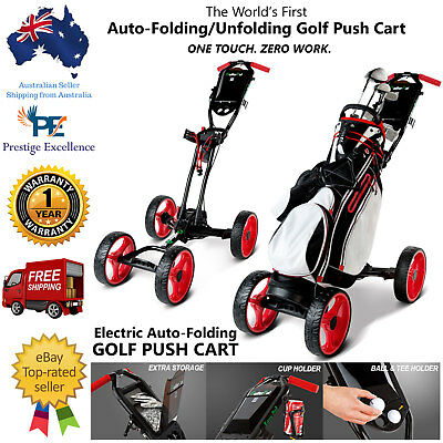 Golf Push Cart Buggy 4 Wheels Electric Auto-Fold Unfolding GolferPal EasyPal Red