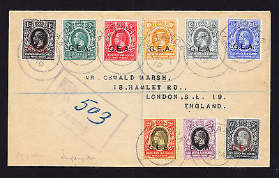 1919 KGV East Africa & Uganda stamps with GEA ovpts German E Africa Tanga to GB