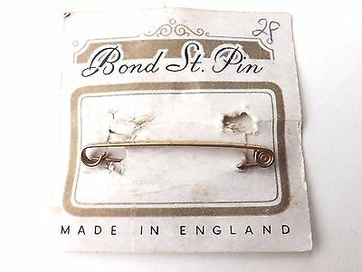Vintage Bond Street Pin 1930s/40s Tie Pin Gold Tone Plain Face Carded FREE P&P
