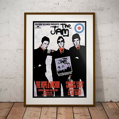 The Jam 1977 'Hope & Anchor Gig' Three Print Options or Framed Poster EXCLUSIVE