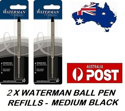 2 X Waterman Ballpen Ball Point Pen Refill Refills Medium Black Made In France