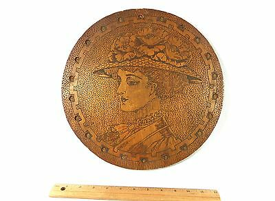 Wood Wall Antique Plaque Victorian Woman Signed Pyrography Burnt 1900