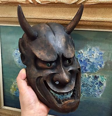 Antique  Japanese mask of HANNYA Noh Kabuki  Wooden