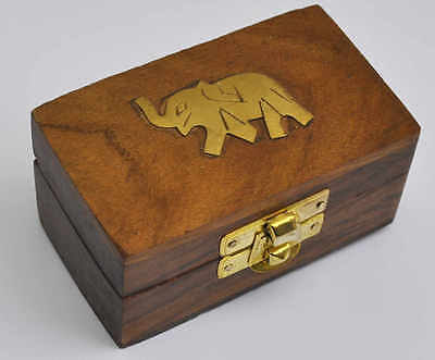 Wooden box with elephant, jewellery box, pill box, gift box, brass detail hinged