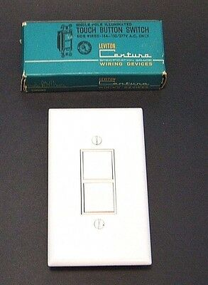WHiTE VtG 60s ILLUMiNATED ReTrO PUSH TOUCH BUTTON WALL LiGHT SWiTCH COVER PLATE