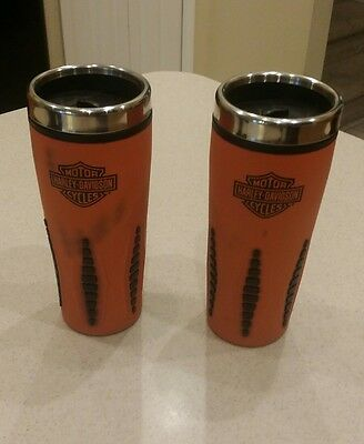 Harley Davidson Travel Coffee Mug Cup Tumbler Orange Black lot of 2