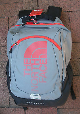 The North Face Haystack Backpack -# Chj2- Laptop Sleeve - Zinc Grey/ Fiery Red