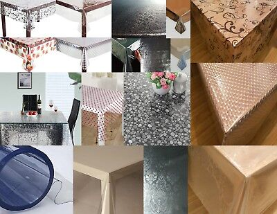 New Luxury Thick Strong Clear Plastic Pvc Vinyl Table Cloth Plain Printed Party