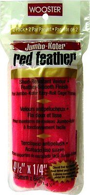 Wooster Brush RR311-4-1/2 Jumbo-Koter Red Feather Roller 1/4-Inch Nap, 2-Pack, 4